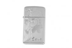 Зажигалка узкая Zippo 24816 Slim Love Flower High Polish Chrome