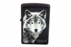 Зажигалка ZIPPO 28303  LIGHTER WHITE WOLF BLACK MATTE