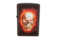 Зажигалка ZIPPO 28307 LIGHTER BURNING SKULL BLACK MATTE